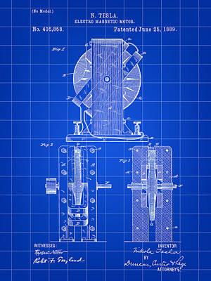 Resistor Digital Art - Tesla Electro Magnetic Motor Patent 1889 - Blue by Stephen Younts