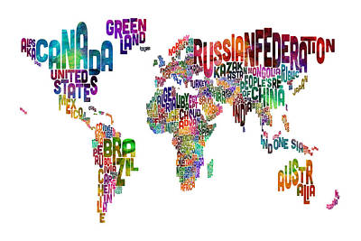 Urban Art Digital Art - Text Map Of The World by Michael Tompsett