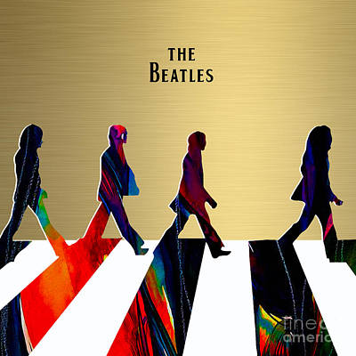Rock And Roll Mixed Media - The Beatles Gold Series by Marvin Blaine