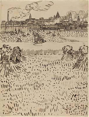 Vincent Van Gogh Drawing - The Harvest by Vincent van Gogh