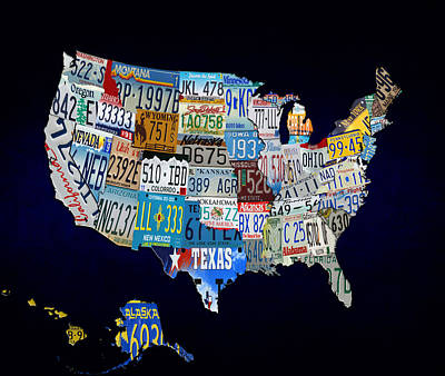 The Usa License Tag Map Art Print by Brian Reaves
