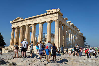 Summertime Photograph - Tourists In Acropolis Of Athens In Greece by George Atsametakis