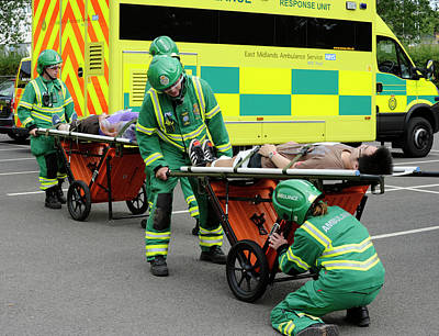 Ambulance Photograph - Training Exercise For Major Emergency by Public Health England