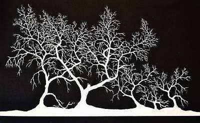 Painting - 5 Trees In Black And White by Thomas Kolendra