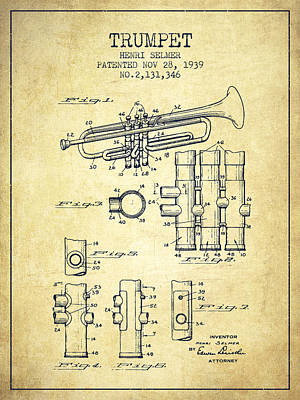 Trumpet Digital Art - Trumpet Patent From 1939 - Vintage by Aged Pixel