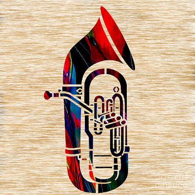 Musical Mixed Media - Tuba by Marvin Blaine