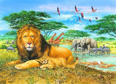 Puzzle Painting - Kilimanjaro Lion And Cub by John Francis