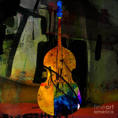 Orchestra Mixed Media - Upright Bass by Marvin Blaine