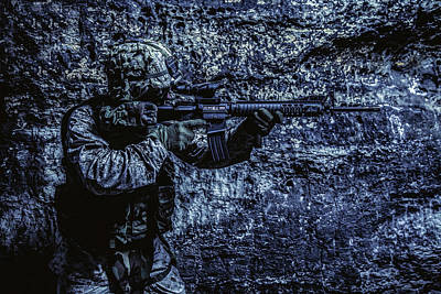 Photograph - U.s. Marine Corps Soldier In Action by Oleg Zabielin