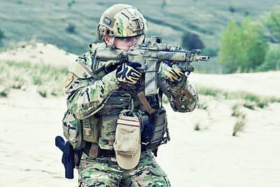Photograph - U.s. Soldier In The Desert by Oleg Zabielin