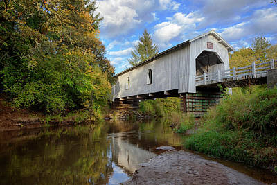 Usa, Oregon, Scio, Hoffman Bridge Art Print by Rick A Brown