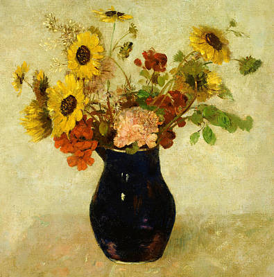 Symbolism In Art Painting - Vase Of Flowers by Odilon Redon