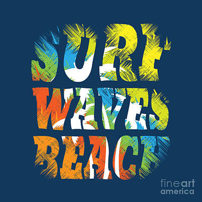 Waves Digital Art - Vector Illustration On The Theme Of by Serge Geras