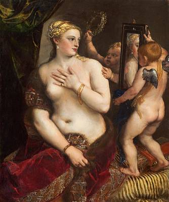 Religion Painting - Venus With A Mirror by Titian