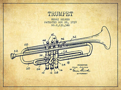 Trumpet Digital Art - Vinatge Trumpet Patent From 1939 by Aged Pixel