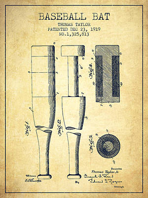 Softball Drawing - Vintage Baseball Bat Patent From 1919 by Aged Pixel