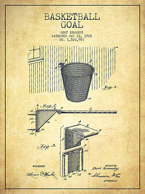 Basketball Hoop Drawing - Vintage Basketball Goal Patent From 1925 by Aged Pixel
