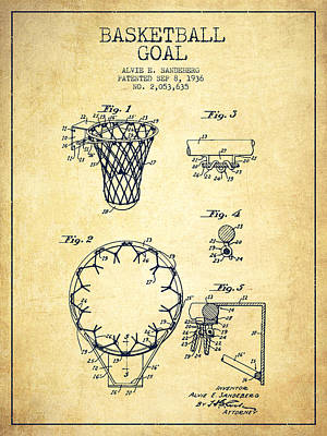Slammed Digital Art - Vintage Basketball Goal Patent From 1936 by Aged Pixel