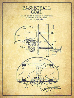 Basketball Hoop Drawing - Vintage Basketball Goal Patent From 1944 by Aged Pixel
