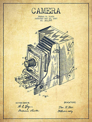 Technical Digital Art - Vintage Camera Patent Drawing From 1887 by Aged Pixel