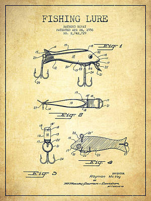 Sport Fishing Digital Art - Vintage Fishing Lure Patent Drawing From 1956 by Aged Pixel