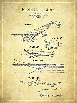Animals Digital Art - Vintage Fishing Lure Patent Drawing from 1969 by Aged Pixel