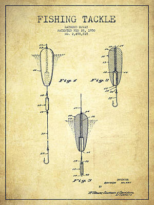 Vintage Fishing Tackle Patent Drawing From 1950 Art Print