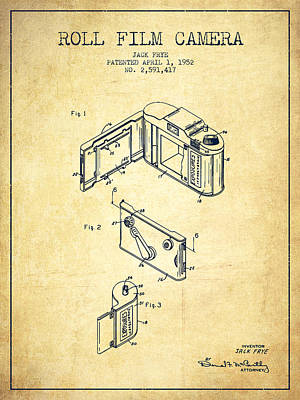 Vintage Camera Wall Art - Digital Art - Vintage Roll Film Camera Patent From 1952 by Aged Pixel