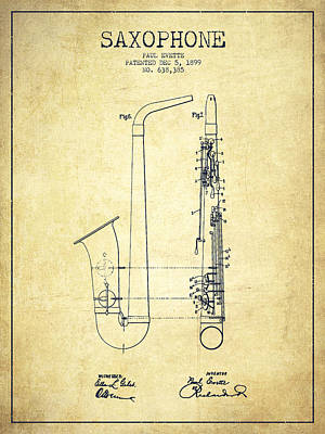 Saxophone Drawing - Saxophone Patent Drawing From 1899 - Vintage by Aged Pixel