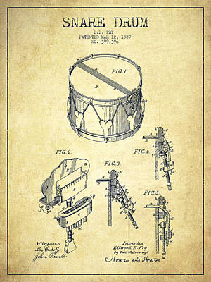 Drummer Drawing - Vintage Snare Drum Patent Drawing From 1889 - Vintage by Aged Pixel