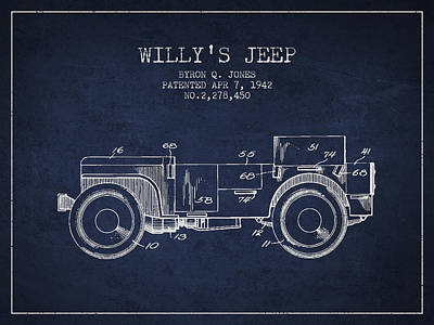 Vintage Willys Jeep Patent From 1942 Art Print by Aged Pixel