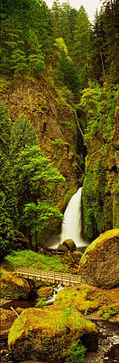 White River Scene Photograph - Waterfall In A Forest, Columbia River by Panoramic Images