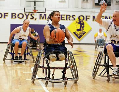 High School Sports Photograph - Wheelchair Basketball by Jim West