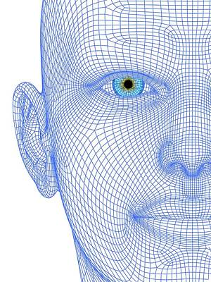 Wireframe Head Art Print