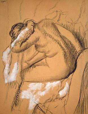 Woman Drying Herself  Print by Edgar Degas
