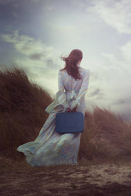 Windy Photograph - Woman With Suitcase by Joana Kruse