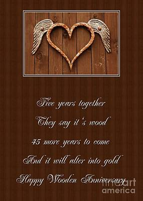 Digital Art - 5 Year Wooden Heart Anniversary by JH Designs