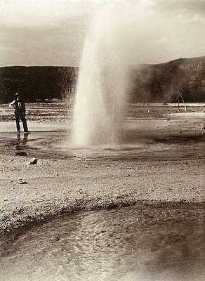 Basin Park Painting - Yellowstone Park Geyser by Granger