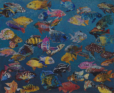 School Of Fish Painting - 50 Cichlids by Fred Chuang
