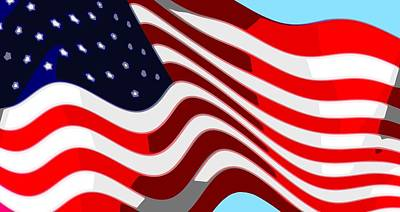 4th July Digital Art - 50 Star American Flag Closeup Abstract 7 by L Brown