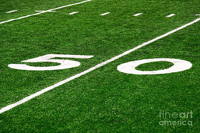 Football Photograph - 50 Yard Line On Football Field by Paul Velgos