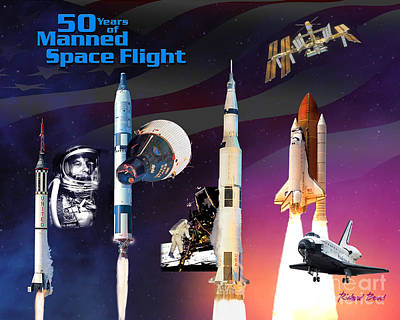 50 Years Of Manned Space Flight Art Print by Richard Beard