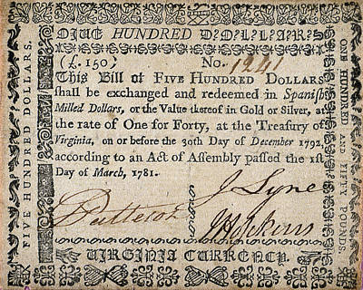 Photograph - 500 Dollar Note, C1781 by Granger