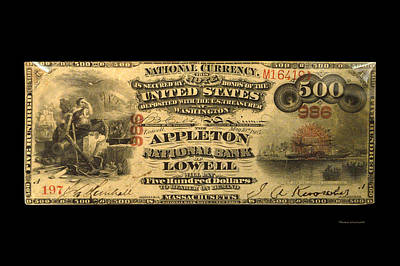 500 Dollar Us Currency Massachusetts Bill Art Print by Thomas Woolworth