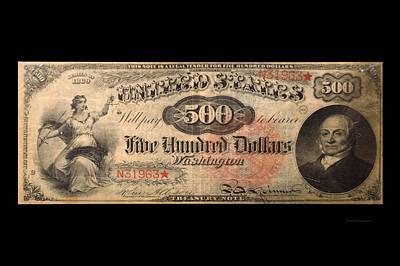 500 Dollar Us Currency Washington Bill Art Print by Thomas Woolworth