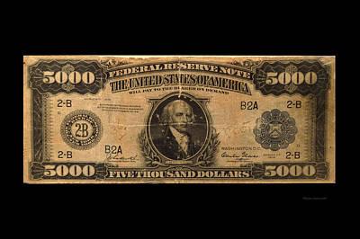 5000 Dollar Us Currency Bill Art Print by Thomas Woolworth