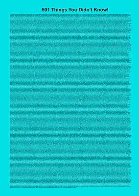 501 Things You Didn't Know - Turquoise Color Art Print by Pamela Johnson