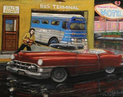 50s Bus Stop Sold Prints Avail Art Print by Larry E Lamb