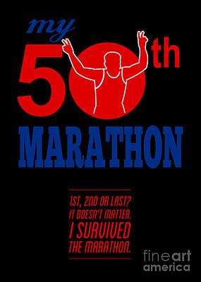 50th Marathon Race Poster  Art Print by Aloysius Patrimonio