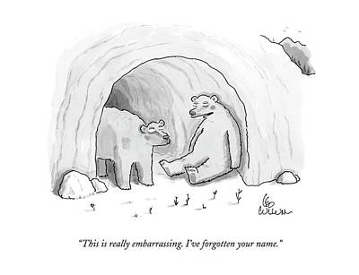 Cave Drawing - This Is Really Embarrassing. I've Forgotten by Leo Cullum